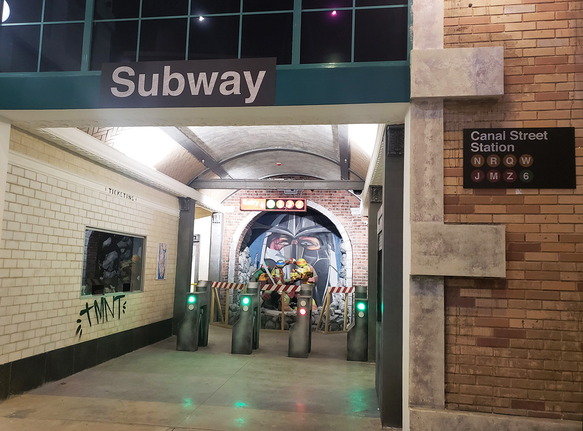 Replica of the New York City subway in the Ninja Turtles zone