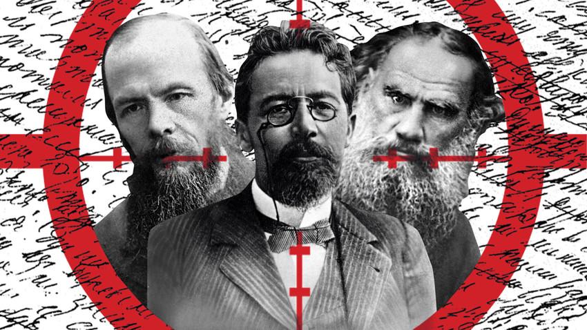 Fiódor Dostoievski, Antón Chéjov, Lev Tolstói
