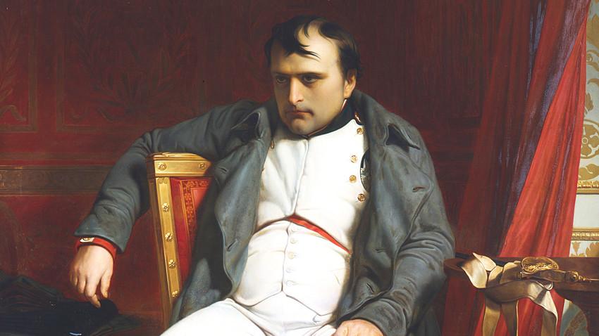 フォンテーヌブローで退位するナポレオン、1814年4月