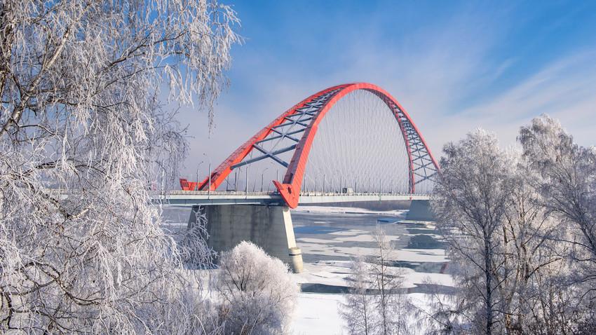 The bridge over the river Ob in Novosibirsk.