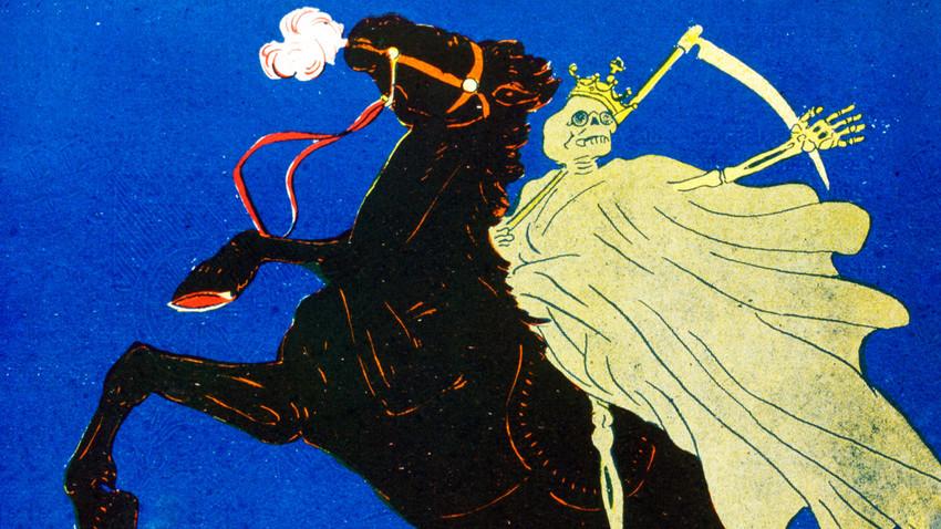 Ilustrasi satir Prancis, menggambarkan ancaman Kolera di Rusia.