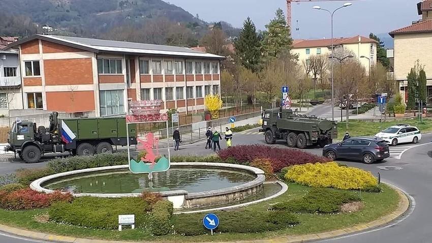 Ruski konvoj v mestu Nembro, 6 kilometrov od Bergama