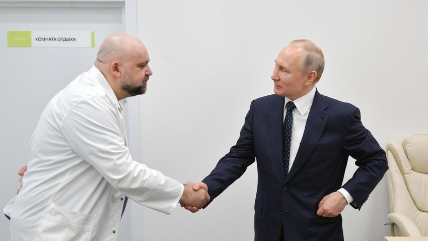Денис Проценко и Владимир Путин, 24 март 2020.
