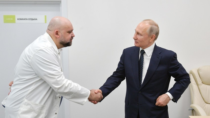 Denis Procenko i Vladimir Putin, 24. ožujka 2020.