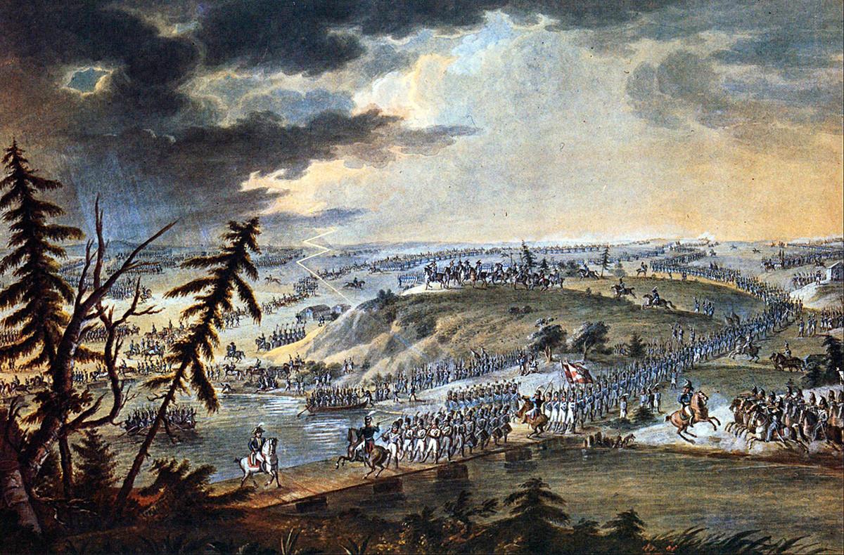 Exército napoleônico cruzando o rio Neman