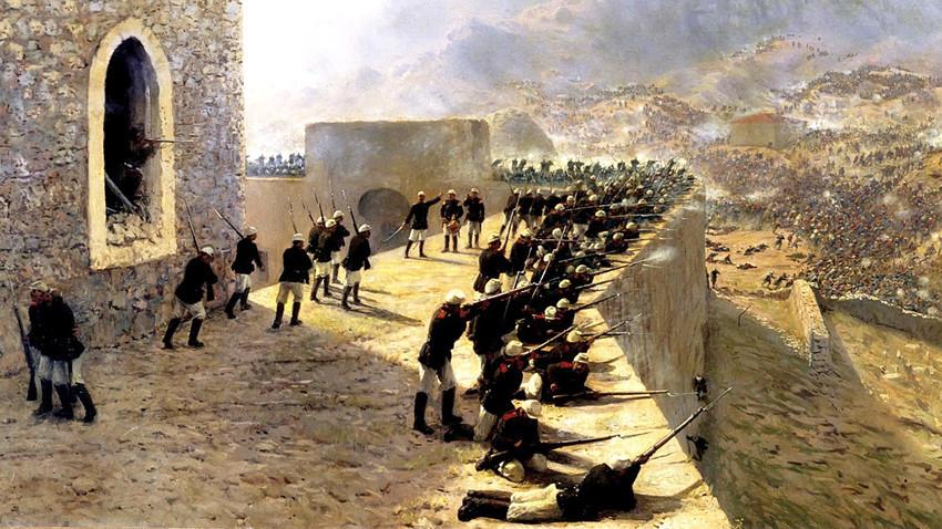 Rechazo del asalto de la fortaleza de Bajazet el 8 de junio de 1877, 1891. Lev Lagorio
