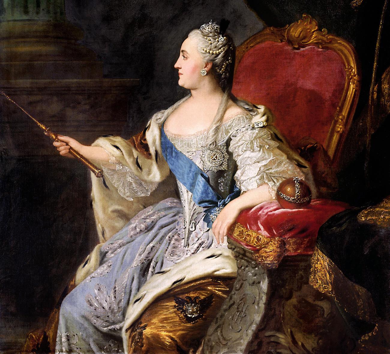 Retrato de imperatriz Catarina, a Grande, do pintor russo Fiódor Rokotov