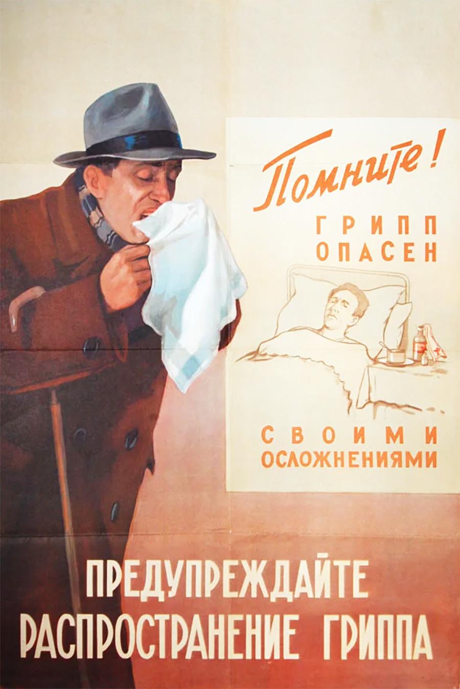"""Cartel: """"¡Evitar que la gripe se extienda!"""""""