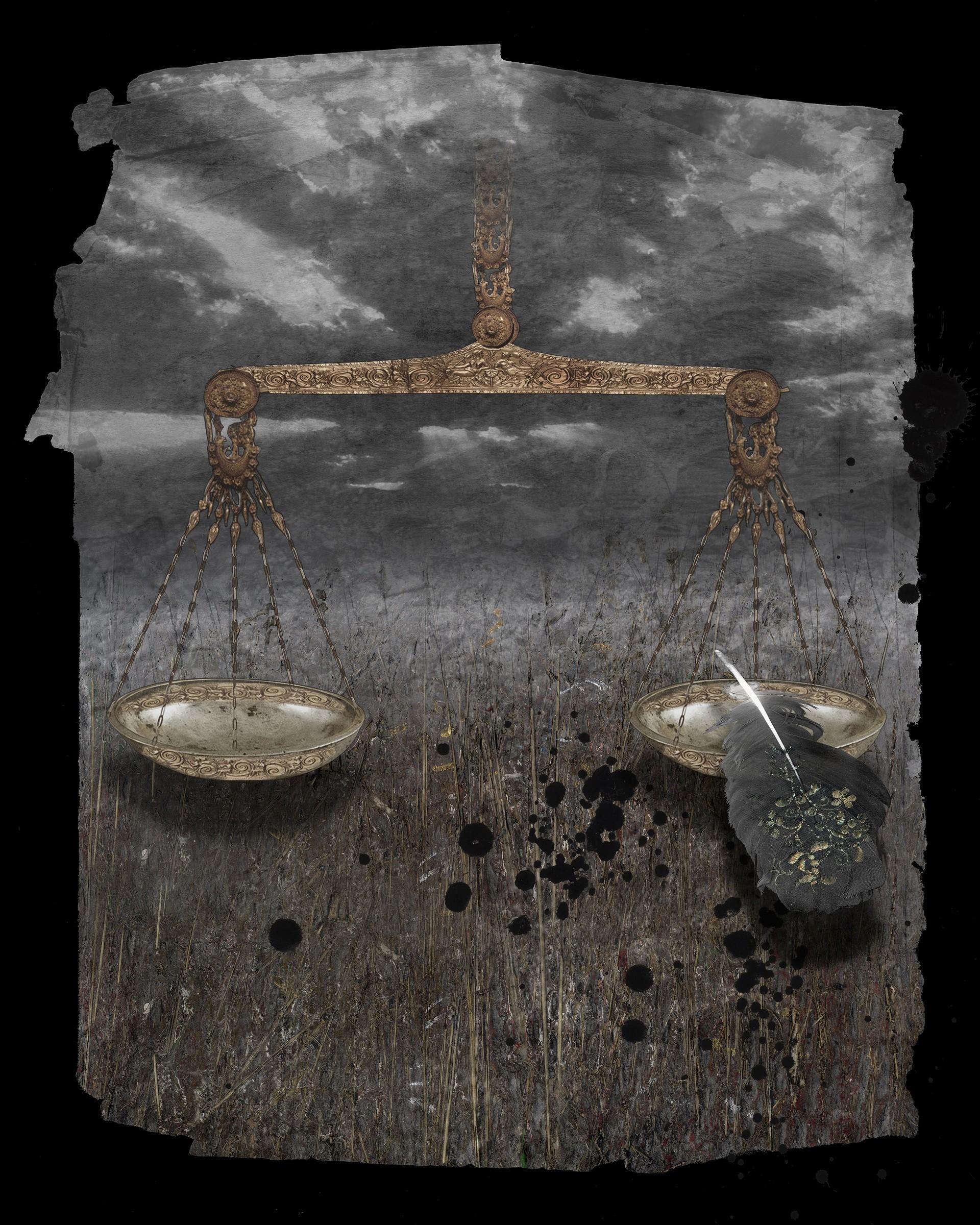 """Bilancia con penna. """"Libro di Giobbe"""", 2010, carta con stampa a mano, litografia con rifinitura a mano"""