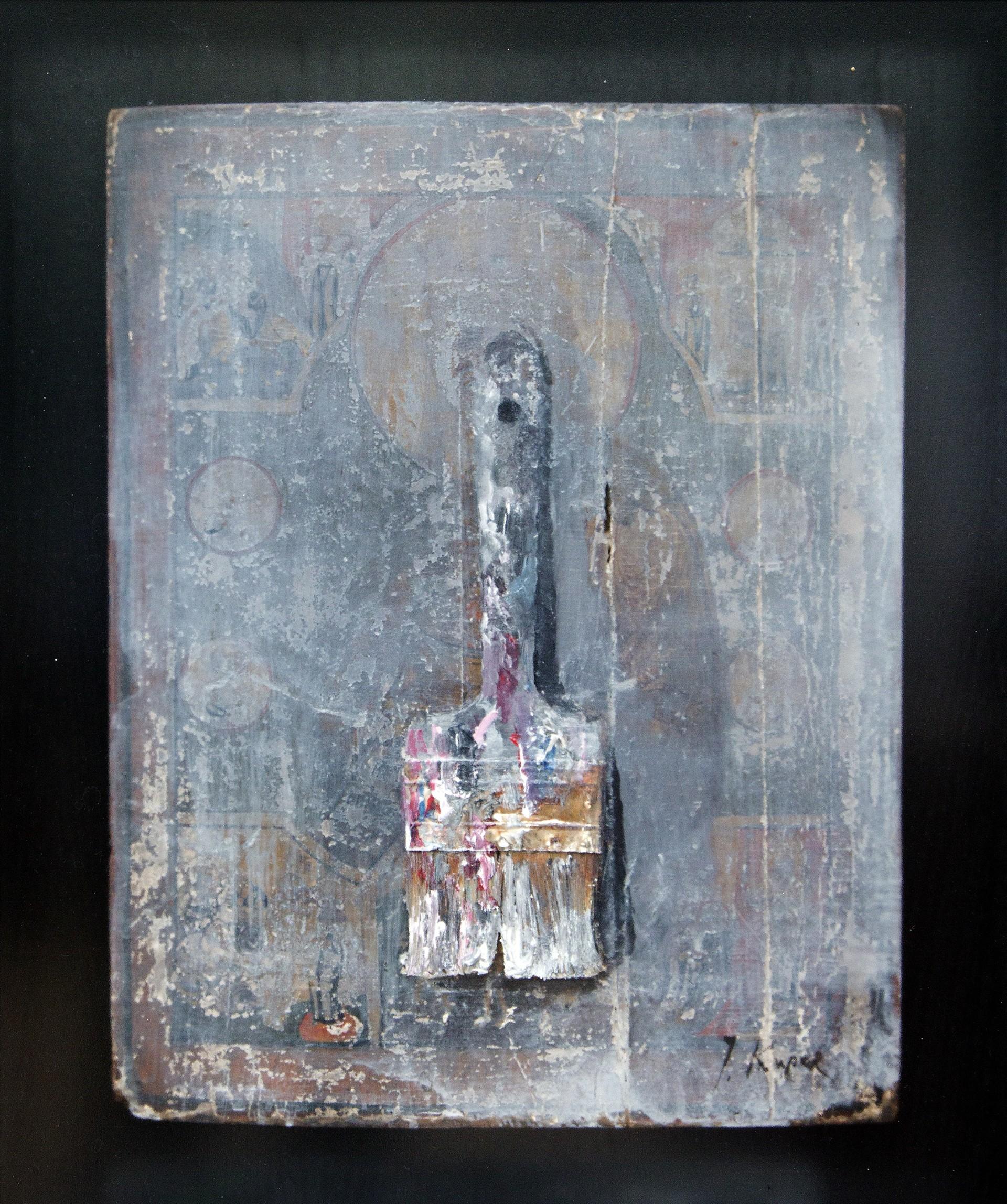 Pennello in una scatola, 2019, legno, acrilico, collage