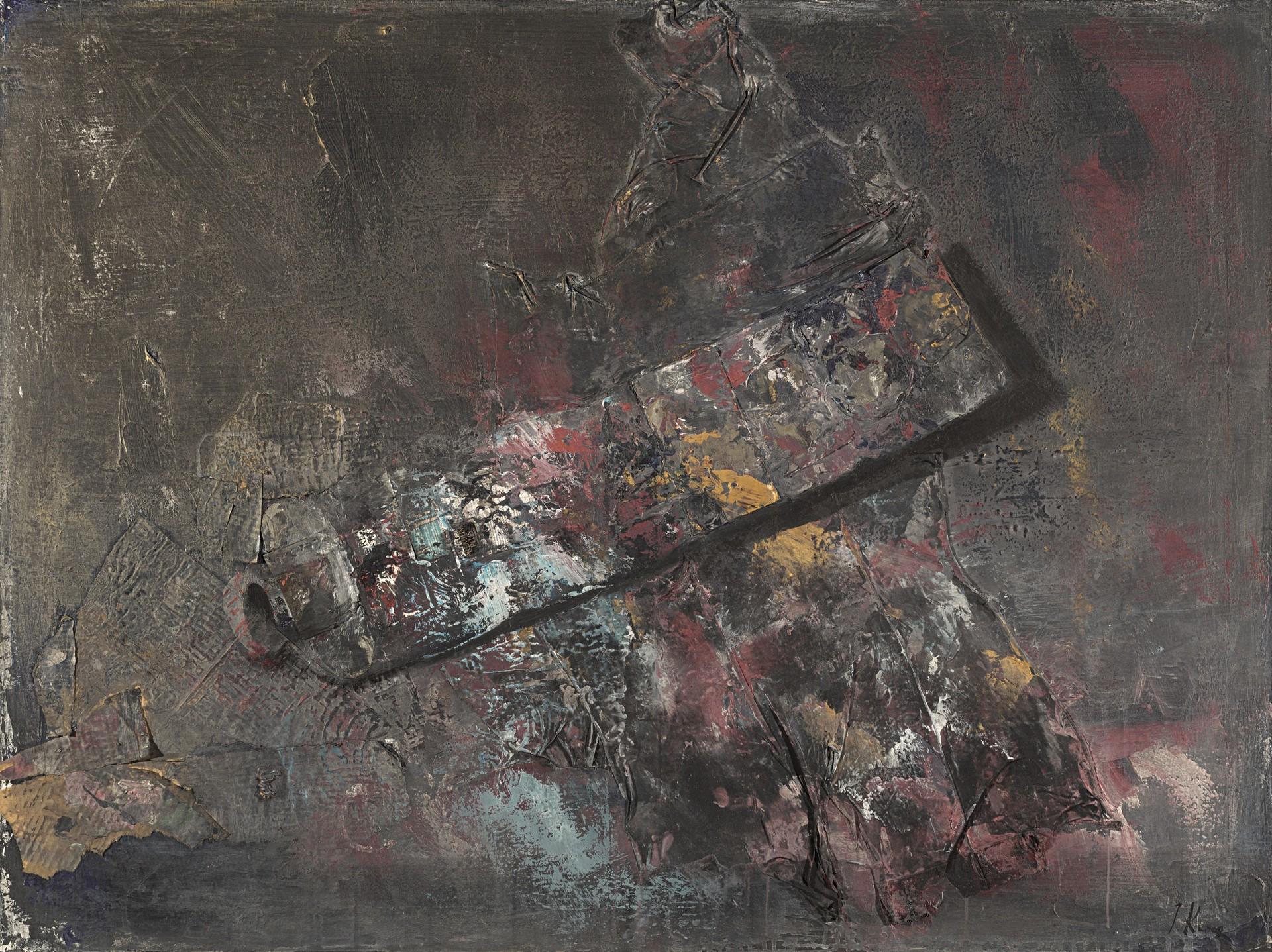Tubetto vuoto di vernice, 2005, tela, acrilico, collage