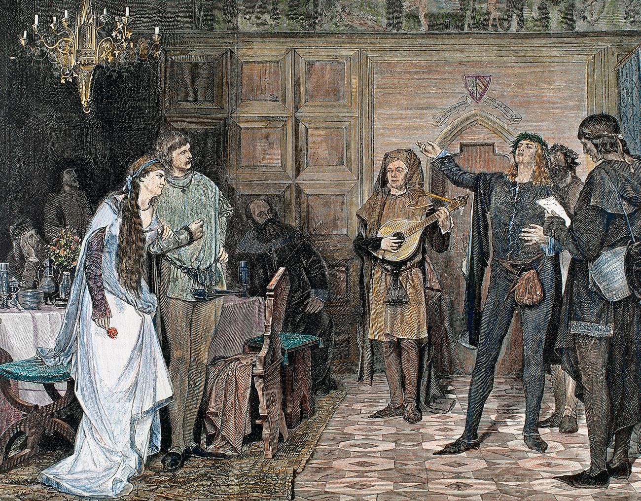 Troubadours chantant et récitant un de ses poèmes, écrits en occitan. 12e et 13e siècles. Gravure en couleur