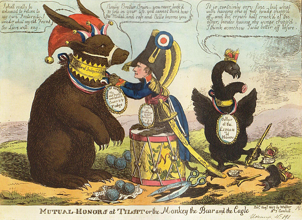 Чарлс Вилијамс, Узајамна почаст у Тилзиту, или Mајмун, медвед и орао. 1807. Обојени бакропис.