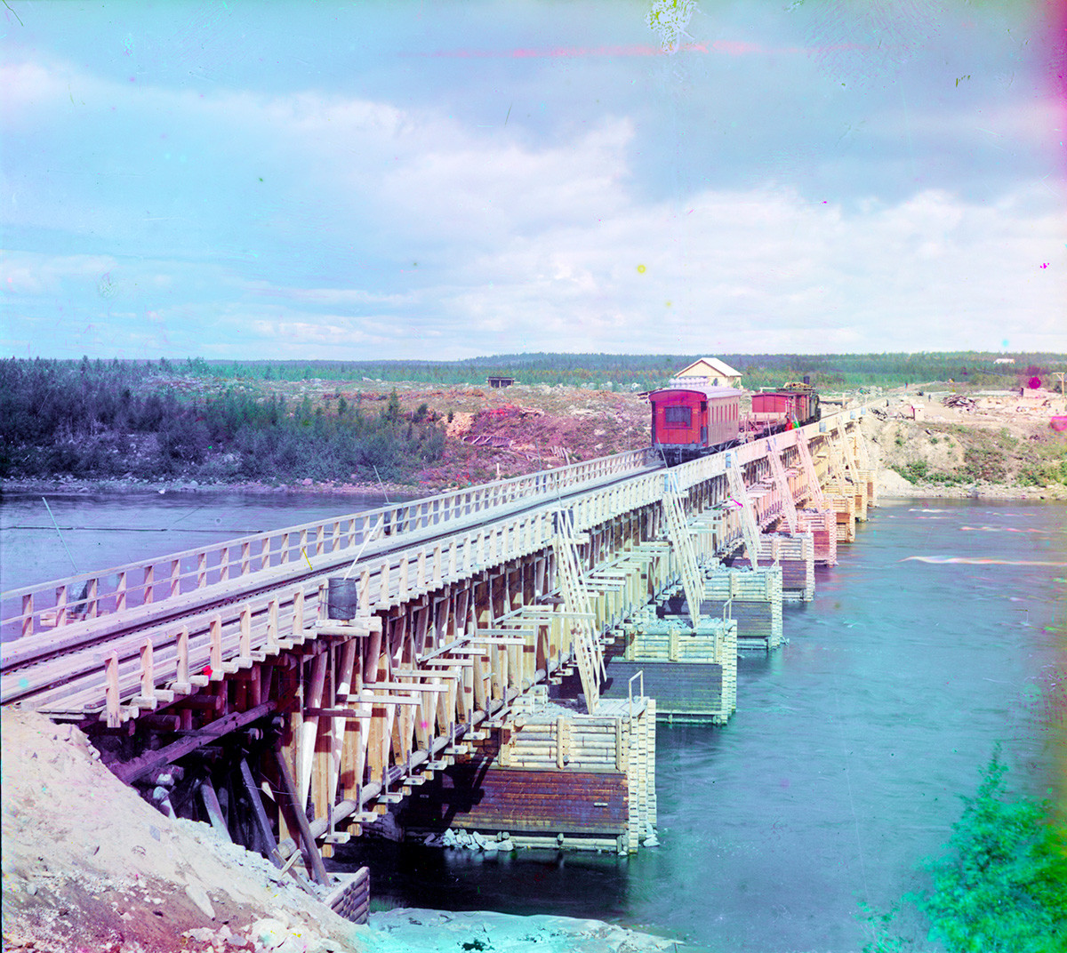 Railroad bridge seen from right bank of Kem River in the direction of Murmansk. Summer 1916