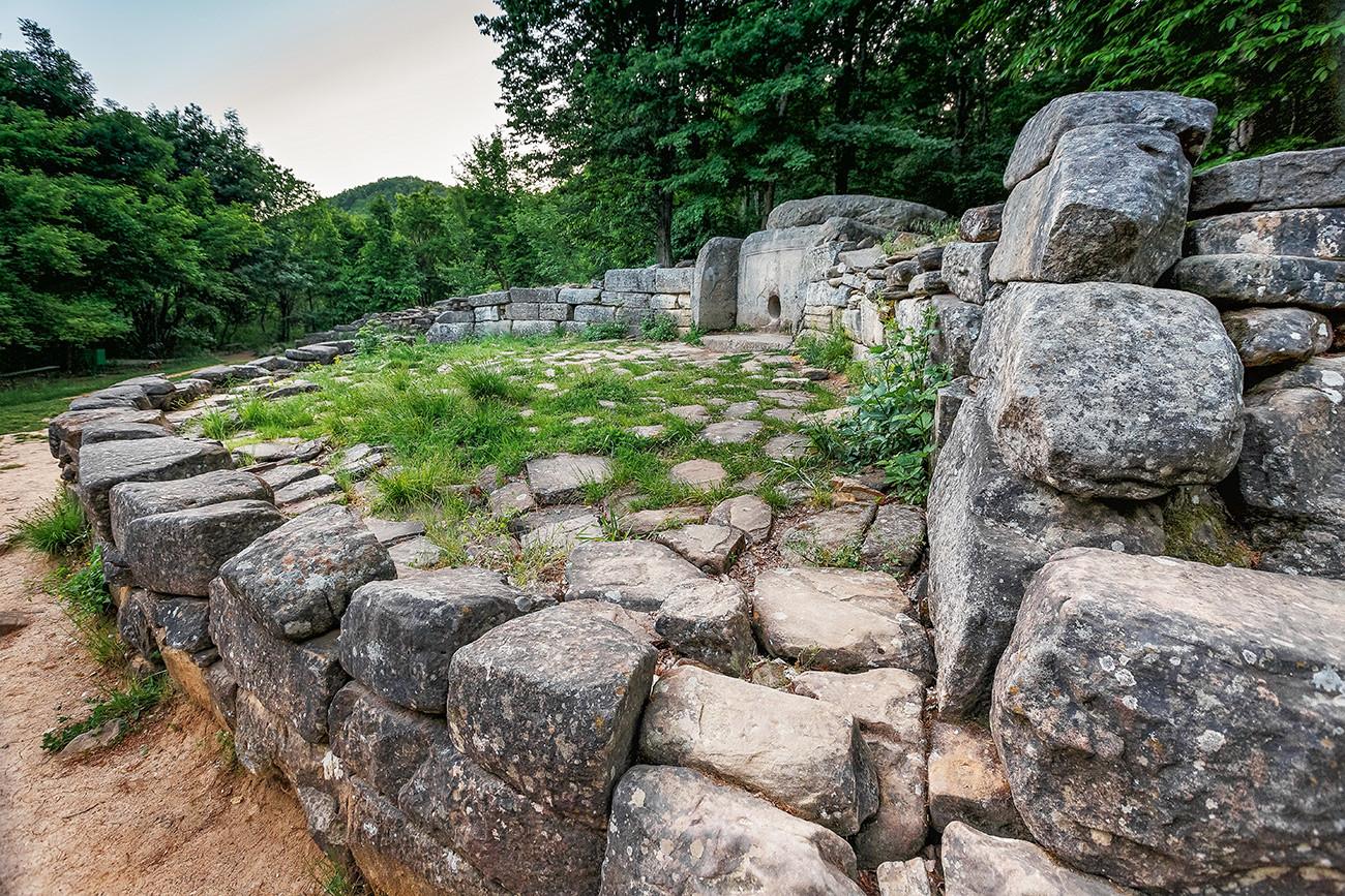 Ancient tiled dolmen in the valley of the river river Zhane, Russia, Krasnodar region, Gelendzhik district.