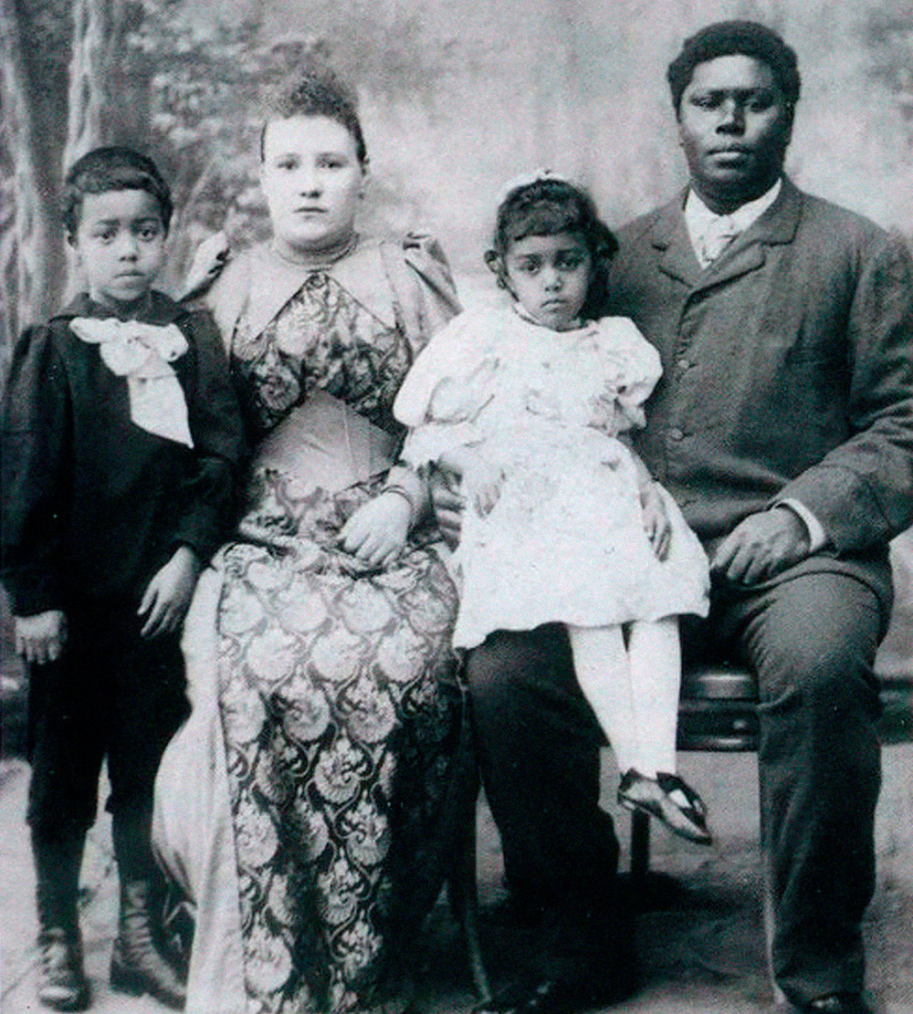 George Maria (1858-1916), one of the Moors of the Imperial court, with his Russian wife and children.