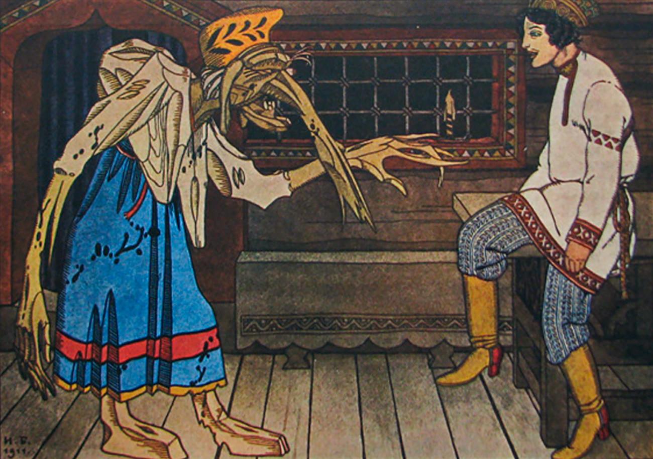 Ilustrasi Baba Yaga sedang memberikan sambutan hangat kepada pemuda yang akan dimakannya.