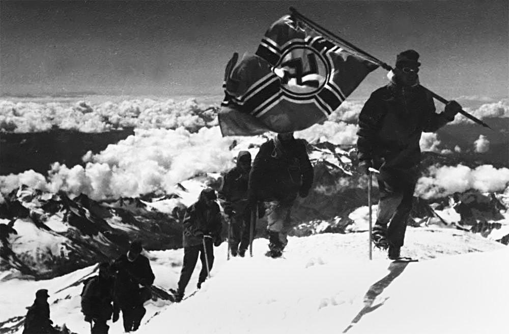 German troops climbing Mount Elbrus in Russia, Europe's highest peak. August 1942