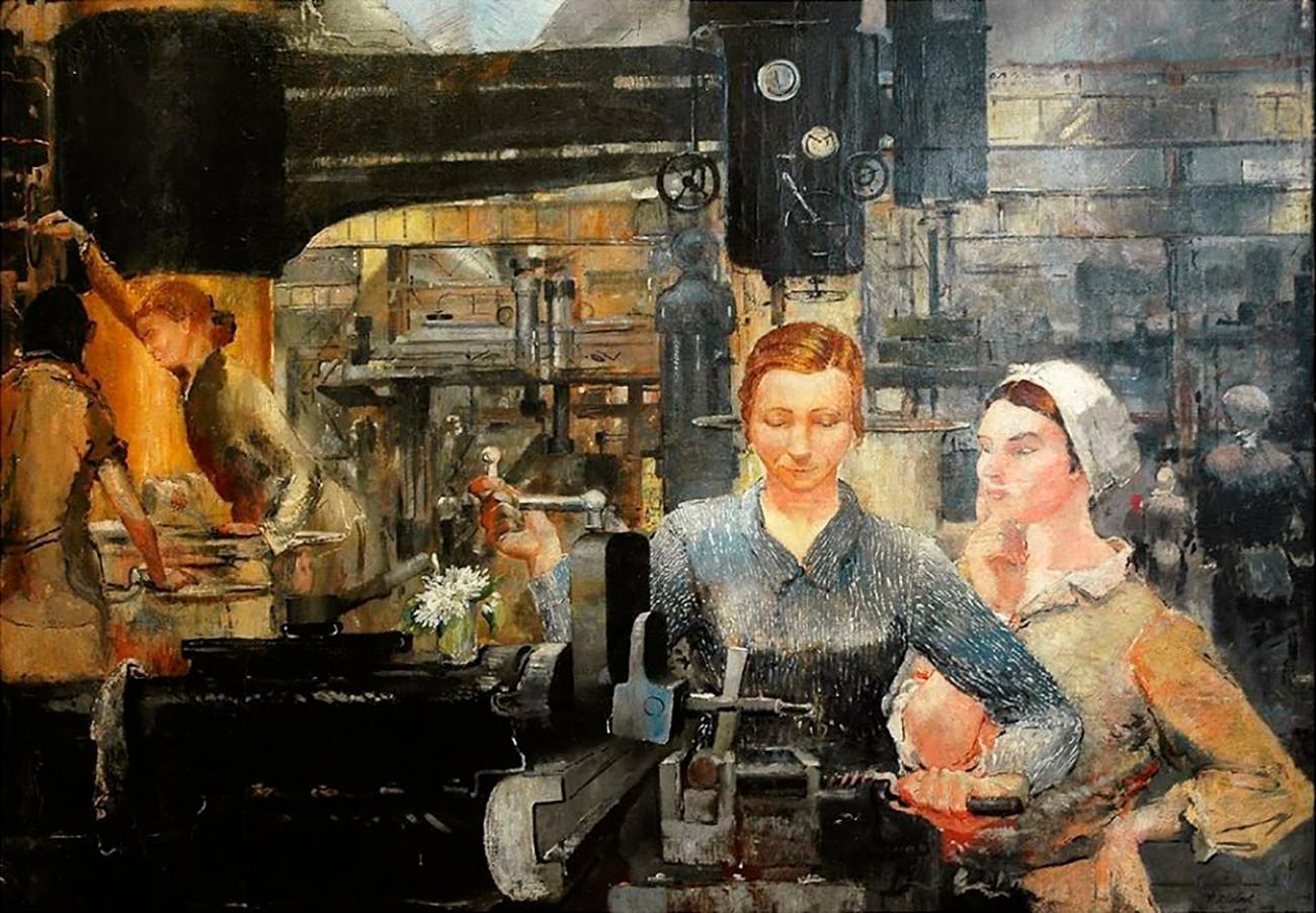 Triptyque. Ouvrières de l'usine Ouralmach, 1934
