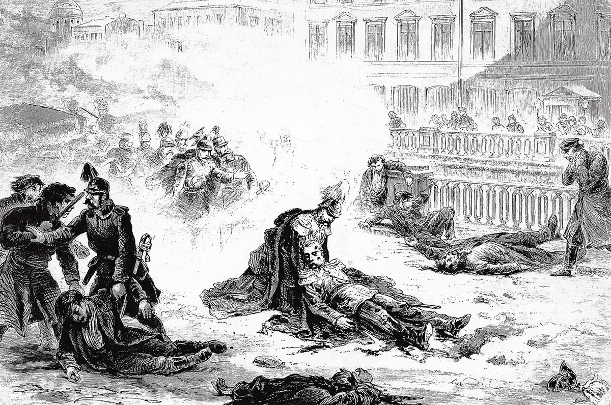 Смертельно раненый император Александр II, гравюра Густава Бролинга