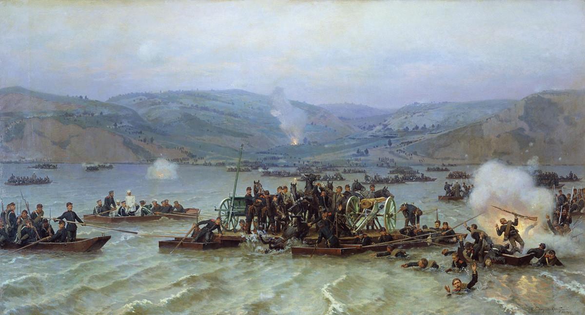 """""""Die Überquerung der Donau durch russische Truppen von Zimnicea nach Swischtow am 15. Juni 1877"""" von Nikolaj Dmitrijew-Orenburgski"""