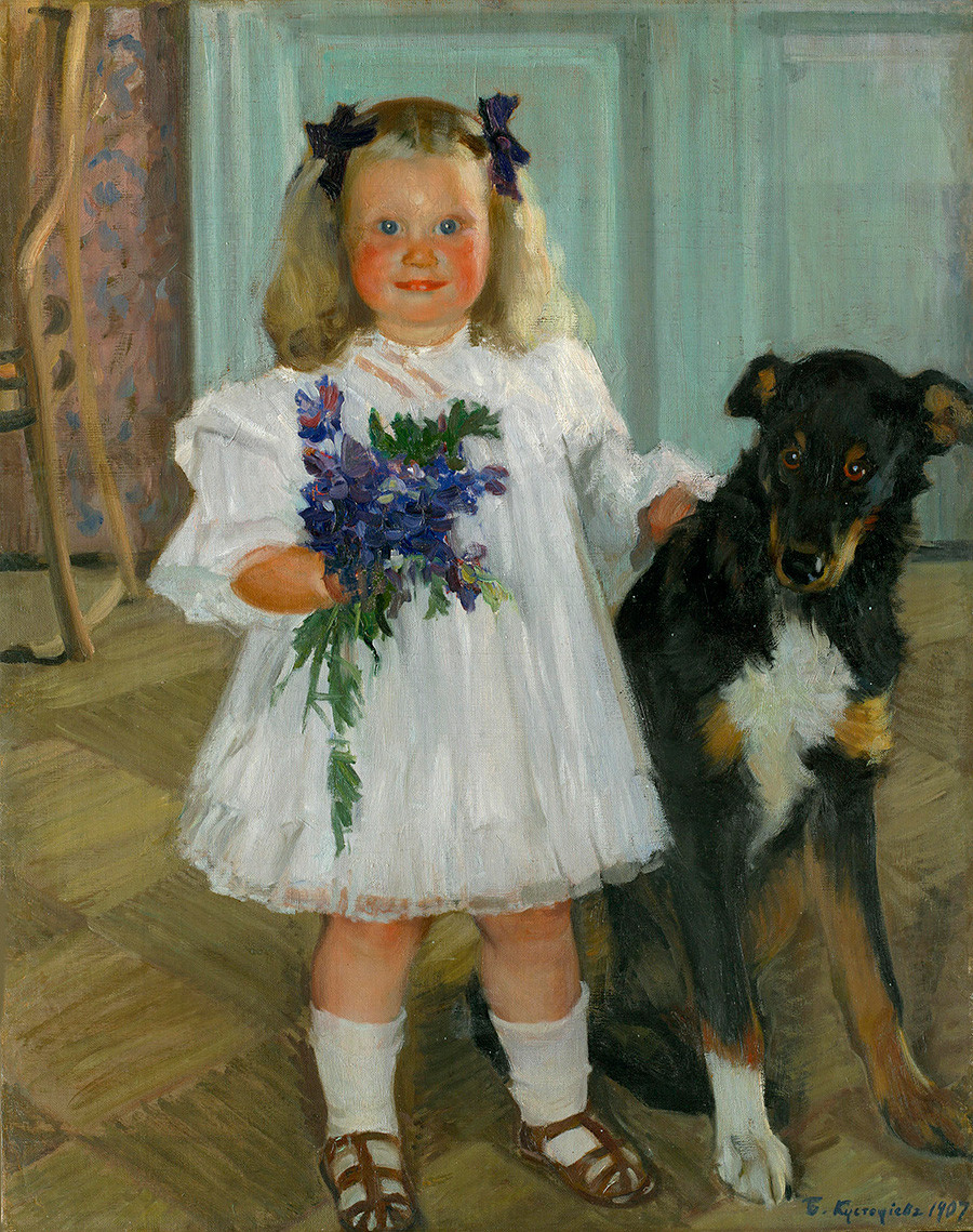 'Portrait of Irina Kustodiev with the dog Shumka'. Boris Kustodiev. 1907.