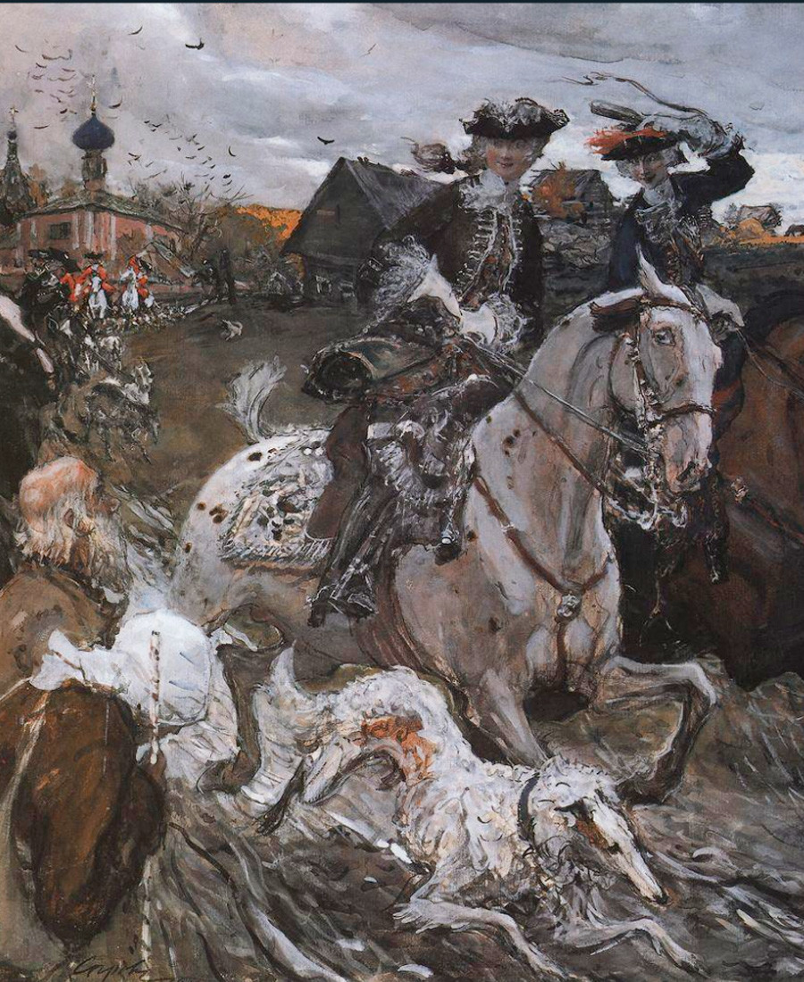 'Peter II and Princess Elizabeth Petrovna Riding to Hounds'. Valentin Serov. 1900.