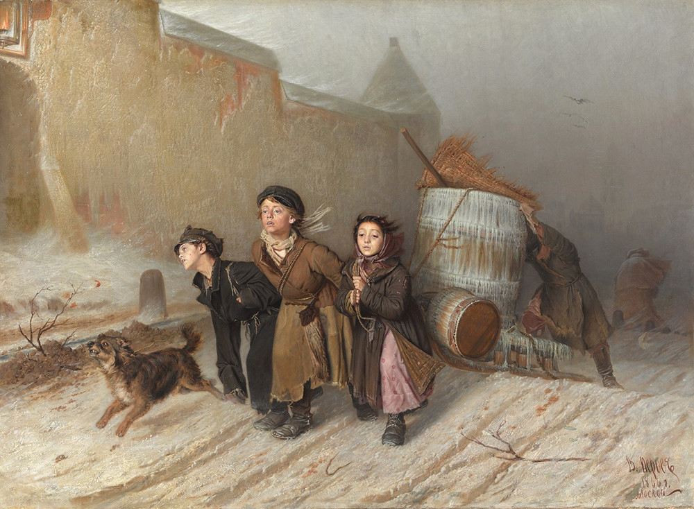 'Troika. Apprentices Fetch Water'. Vasily Perov. 1866.