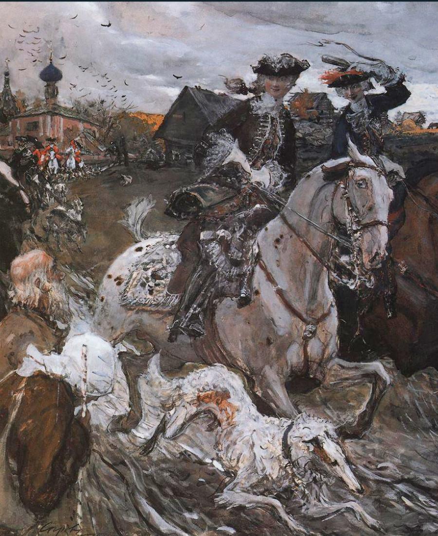 «Пётр II и цесаревна Елизавета на псовой охоте». Валентин Серов. 1900.