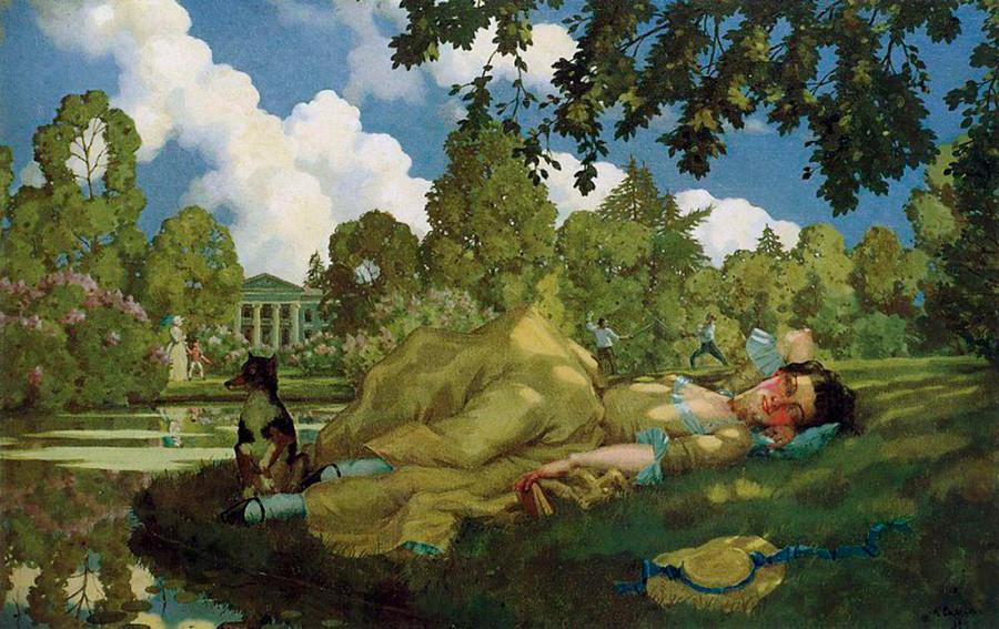 «Спящая молодая женщина в парке». Константин Сомов. 1922.
