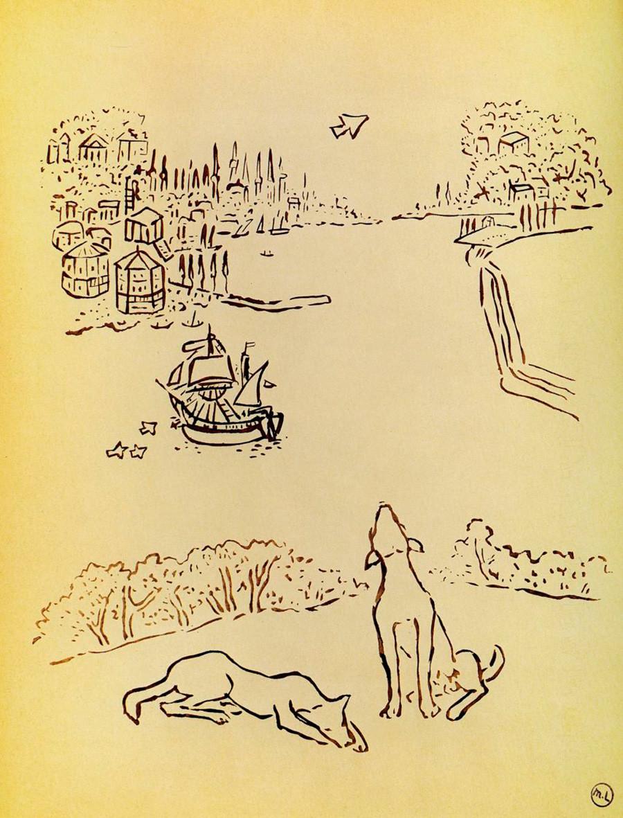 «Собаки на берегу гавани. Из альбома «Путешествие в Турцию». Михаил Ларионов. 1928.