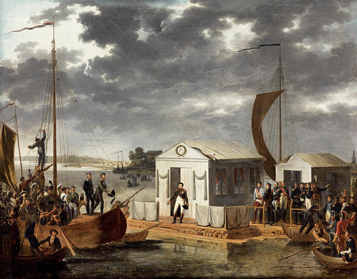 """Средба на Наполеон Први и на Александар Први на Неман, 25 јуни 1807 година, """"Тилзитски мир"""", Адолф Роен."""
