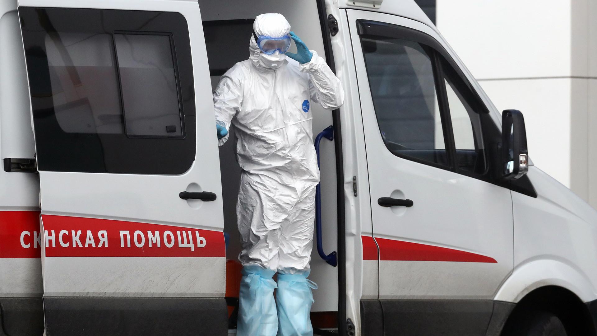 Sebuah ambulans di Moskovskaya oblast.