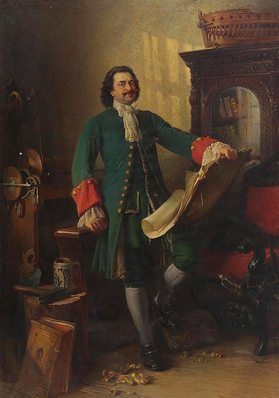 Петър Велики в своето ателие, Константин Егорович Маковски