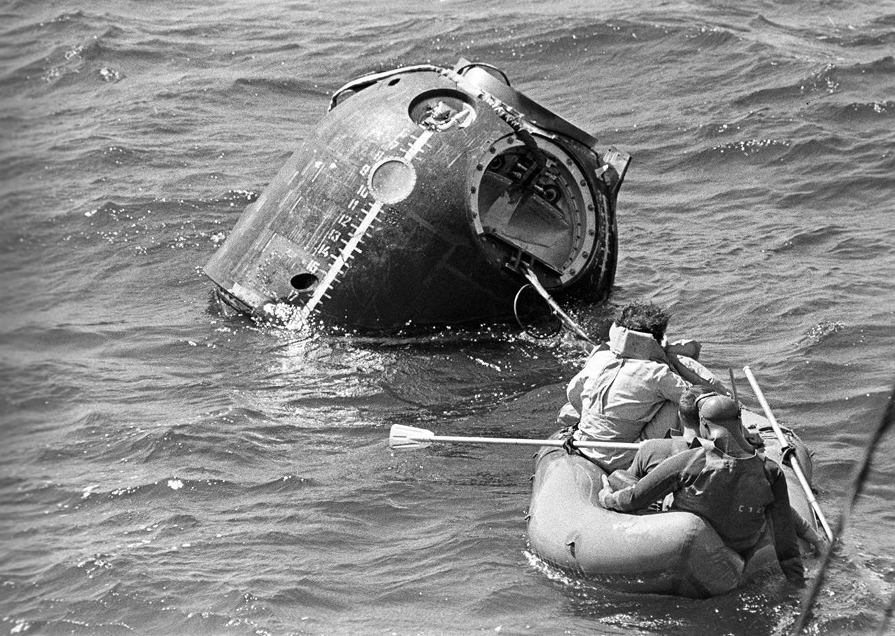 Trening vodnega pristajanja pilotov kozmonavtov.