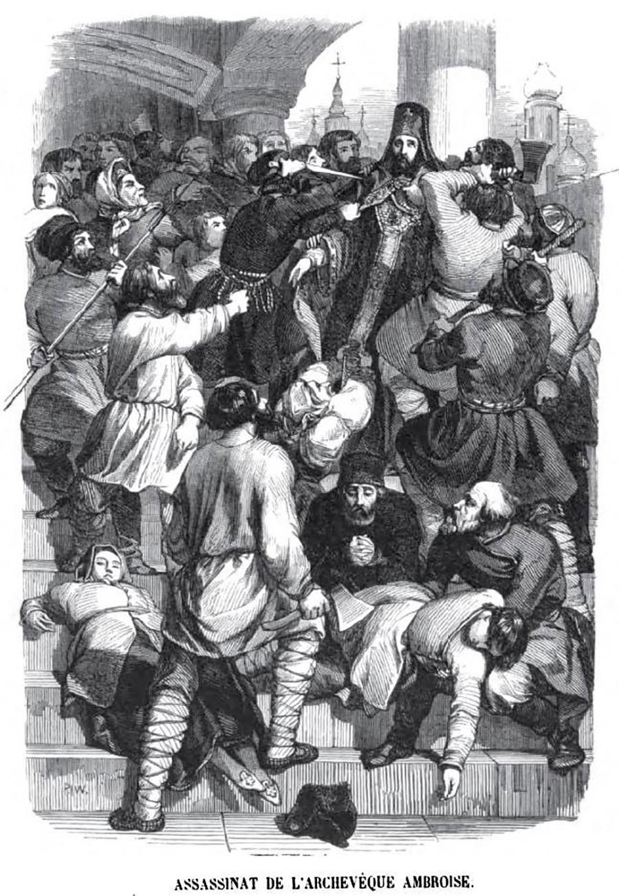 Убийство архиепископа Амвросия, гравюра Шарля Мишеля Жоффруа, 1845 год