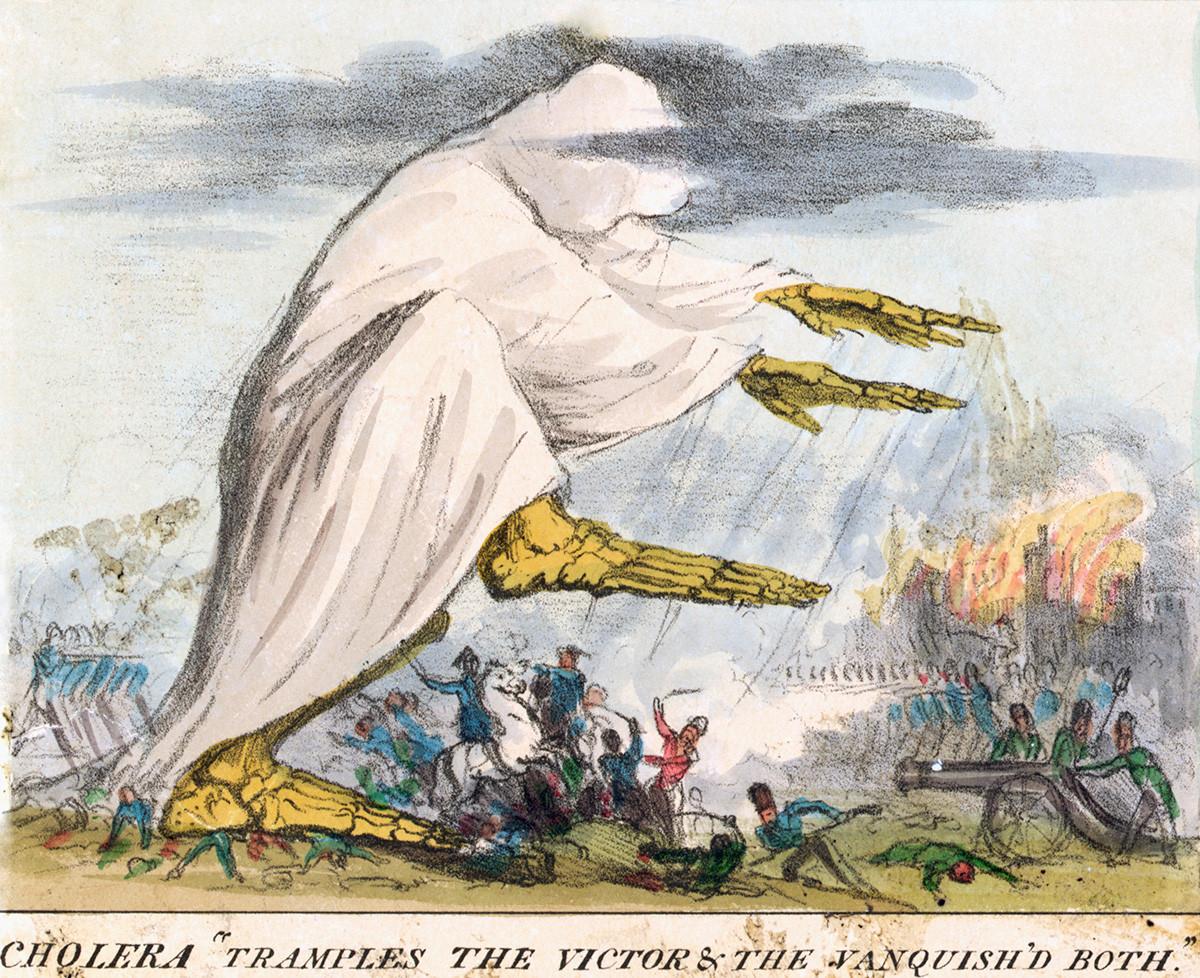 Британская карикатура на холеру в Европе. Подпись: «Холера давит и победителя, и побежденного».