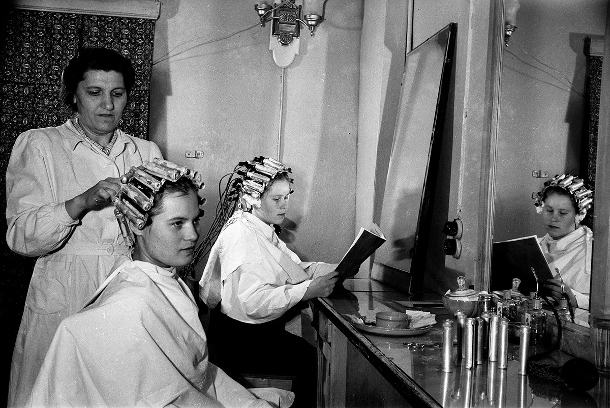 At the hairdressers, 1956