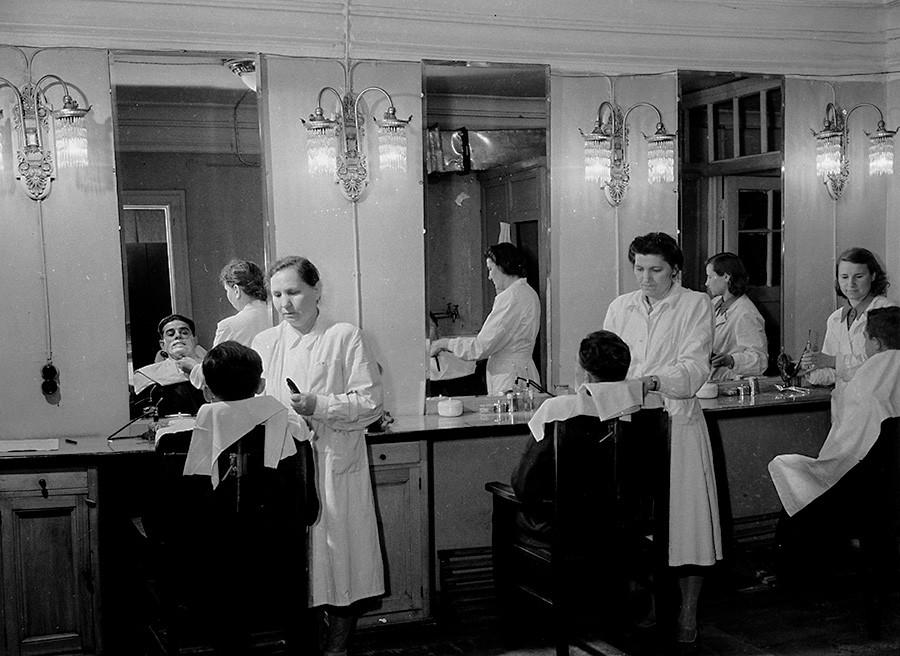 At the barbershop, 1956