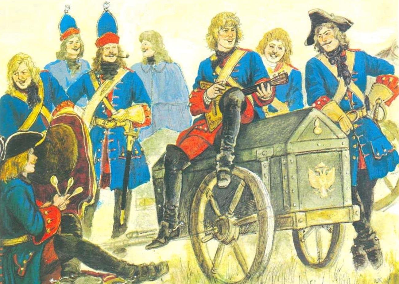 Vsakdanja scena z balalajkarji in tekstopisci. Ilustracija iz knjige