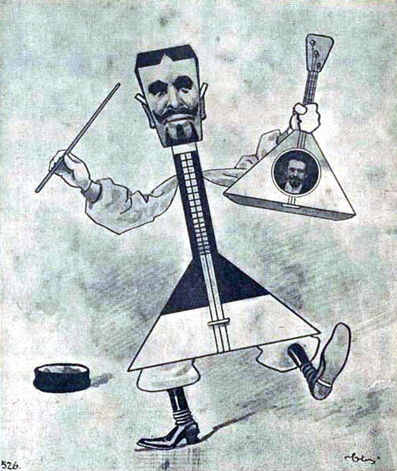 Cartoon featuring Vasily Andreyev in 'Strekoza' magazine, 1903