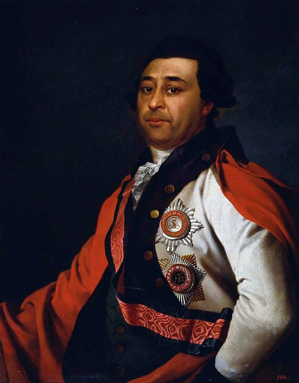 Ein Porträt von Iwan Hannibal, dem Sohn von Abram Hannibal, von Dmitri Lewizki
