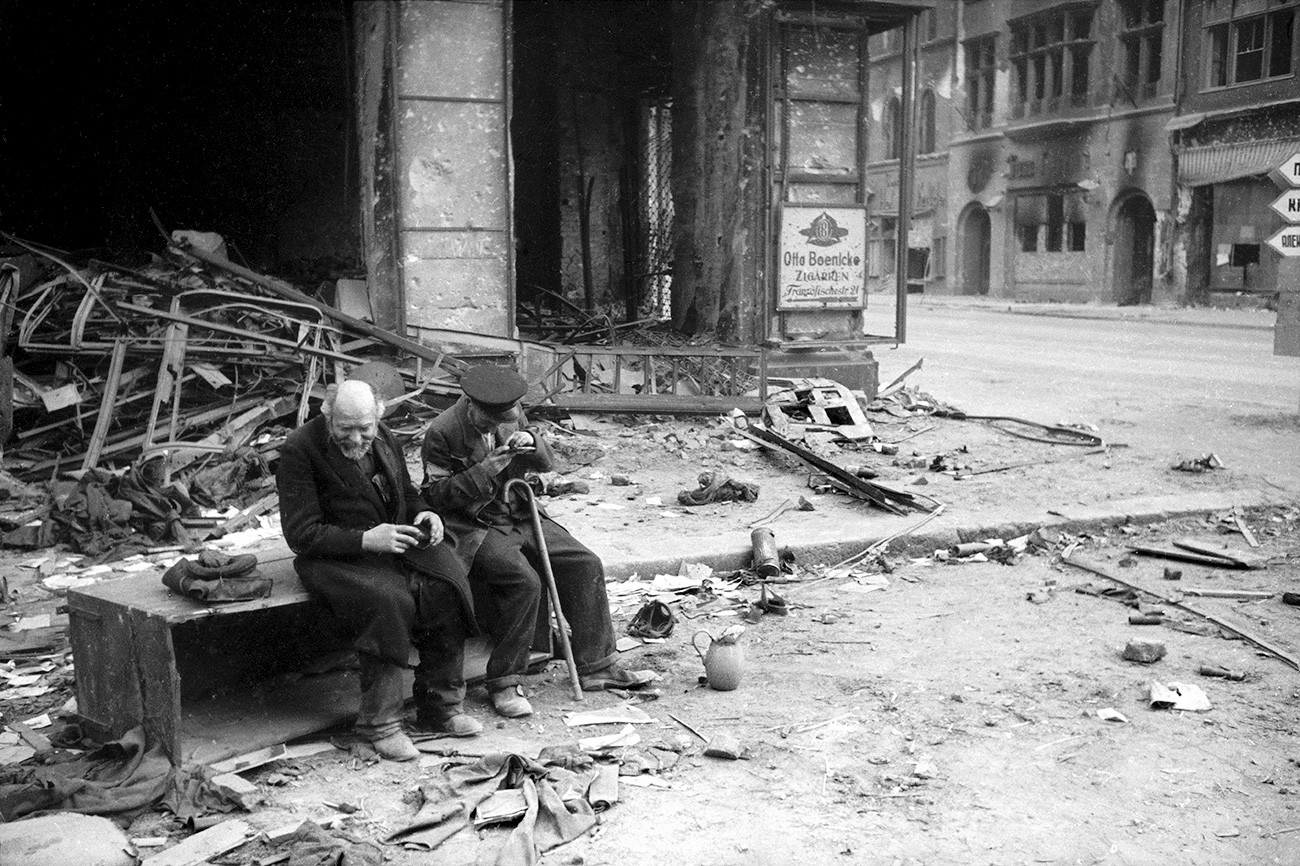 """Why are we fighting?"" asks a blind man. Berlin. 1945."