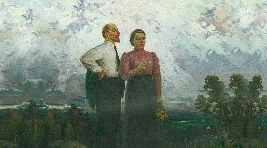 Тимофей Козлов «В.И. Ленин и Н.К. Крупская в Шушенском» (фрагмент, 1961 год)