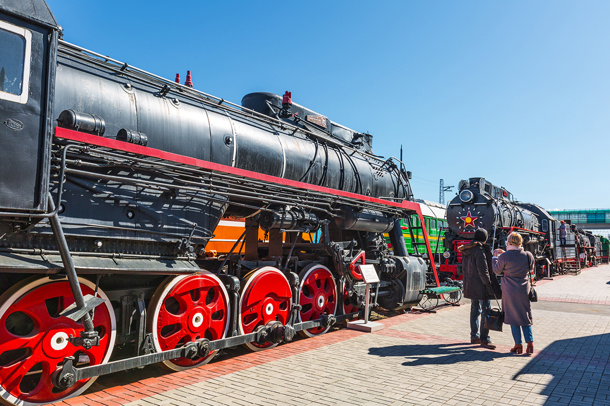 Novosibirsk Museum of railway equipment. N. A. Akulinin with retro exhibits.