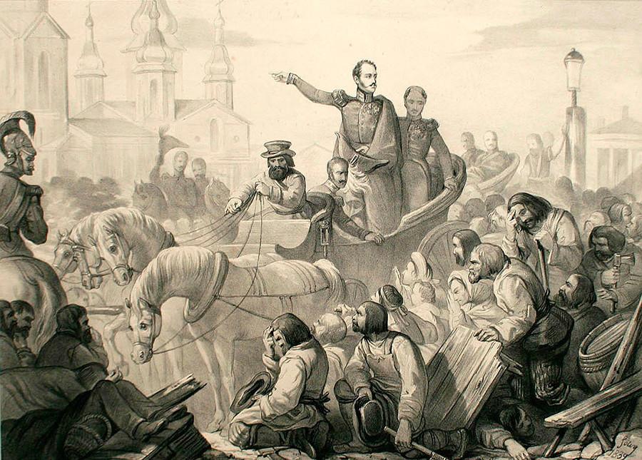 Nikolay I saat kerusuhan kolera di Lapangan Sennaya, Sankt Peterburg.