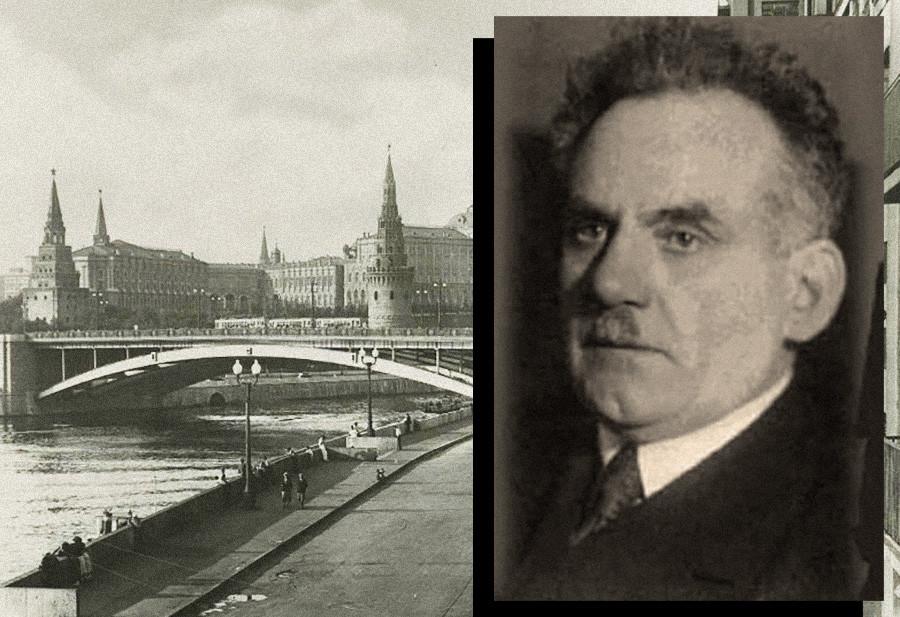 Симон Горелик у првом плану. У позадини панорама Москве 1930-их.