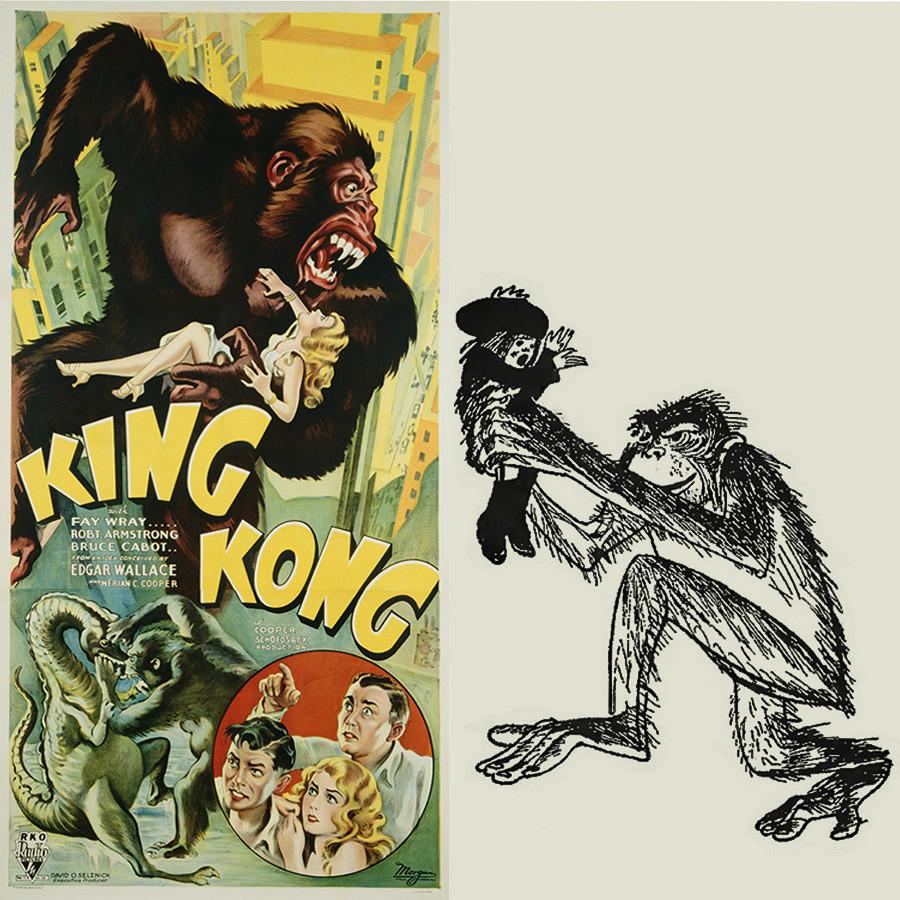 """Poster film King Kong (kiri) dan ilustrasi dari sajak """"Krokodil""""."""