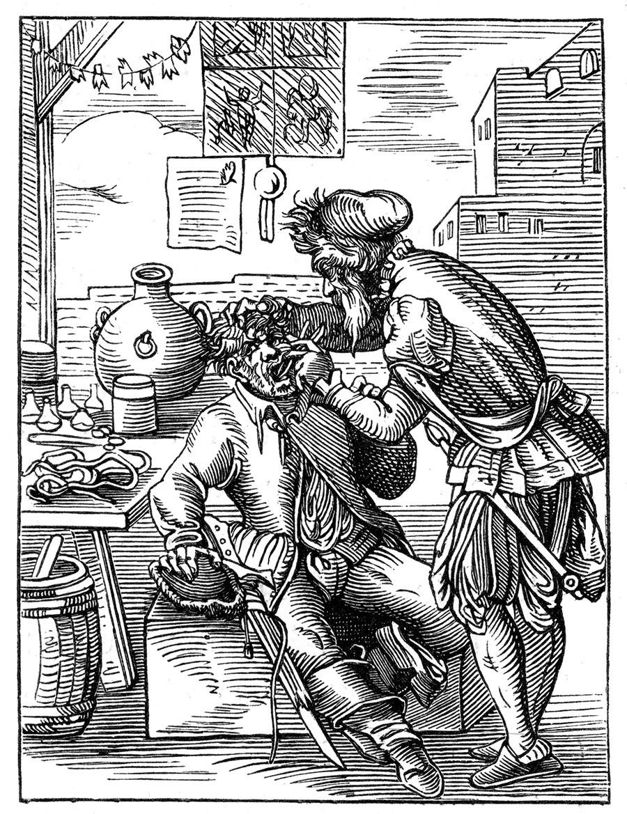 Dal dentista, XVI secolo
