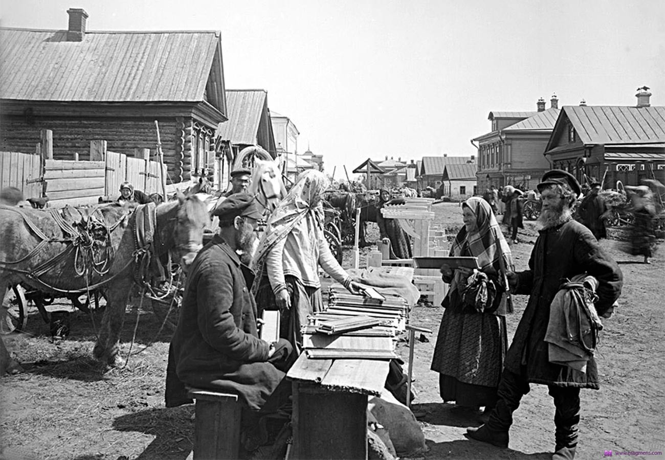Peasants at a market.